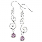 Sterling Silver Amethyst swirly drop Earrings